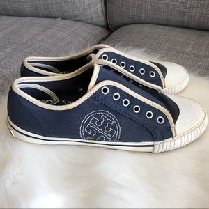 Tory Burch LOGO Navy & White Lace-Up Sneakers